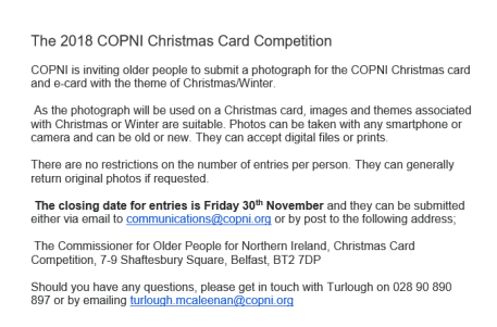 COPNI Christmas card comp